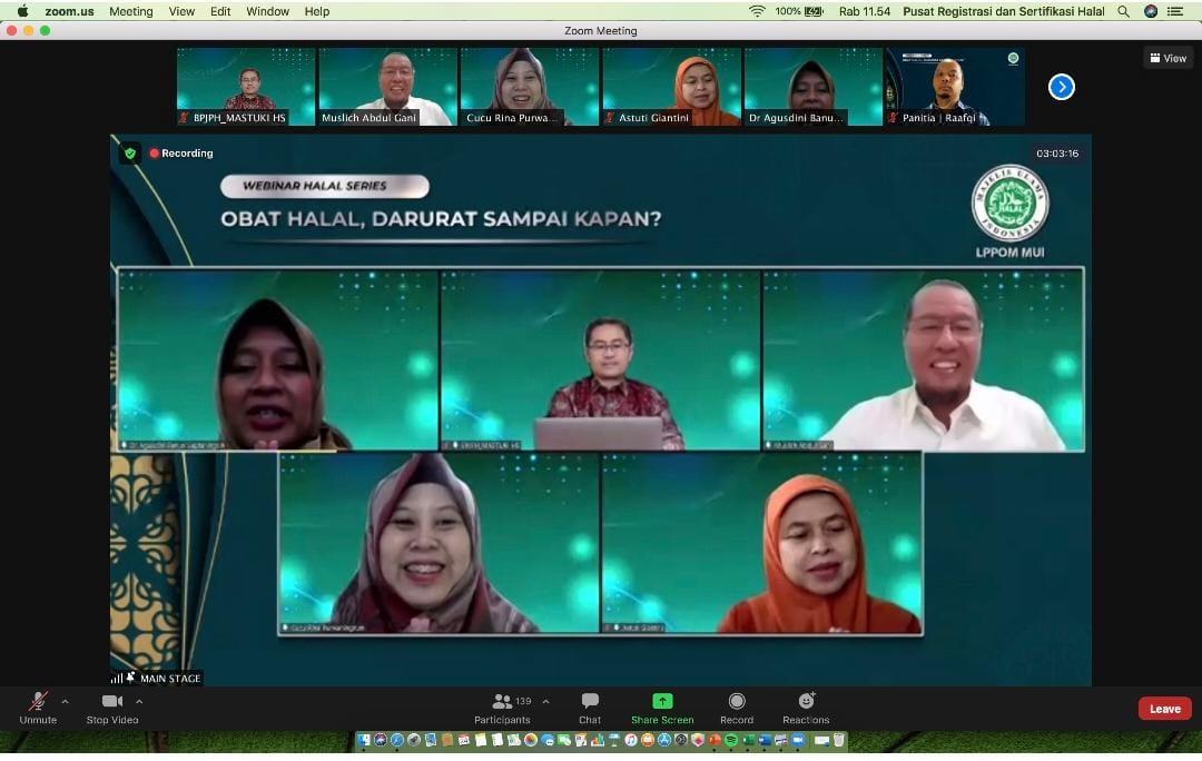 Mi/Tangkapan layar Webinar Halal Series bertema 'Obat Halal, Darurat Sampai Kapan?'